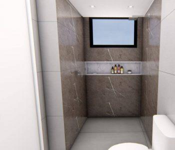 Amanda Leite Escritório de Arquitetura e Interiores - Arquiteto em Curitiba - Banheiro Cinza e Branco 01