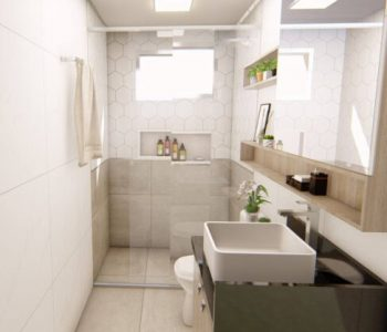 Amanda Leite Escritório de Arquitetura e Interiores - Arquiteto em Curitiba - Banheiro escandinavo