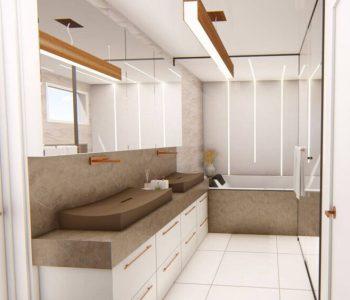 Amanda Leite Escritório de Arquitetura e Interiores - Arquiteto em Curitiba - Banheiro pequeno com duas cubas 01