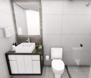 Amanda Leite Escritório de Arquitetura e Interiores - Arquiteto em Curitiba - Banheiro pequeno escuro 01