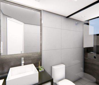 Amanda Leite Escritório de Arquitetura e Interiores - Arquiteto em Curitiba - Banheiro pequeno escuro 02