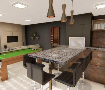 Amanda Leite Escritório de Arquitetura e Interiores - Arquiteto em Curitiba - Churrasqueira e sala de jogos moderna 02
