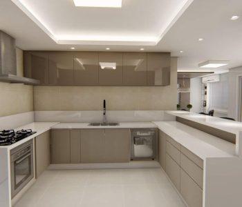 Amanda Leite Escritório de Arquitetura e Interiores - Arquiteto em Curitiba - Cozinha Moderna Branca 02