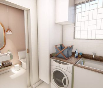 Amanda Leite Escritório de Arquitetura e Interiores - Arquiteto em Curitiba - Lavabo com lavanderia
