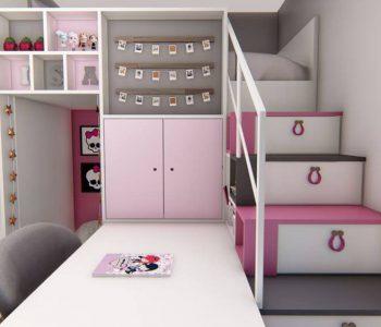 Amanda Leite Escritório de Arquitetura e Interiores - Arquiteto em Curitiba - Quarto Menina Lúdico Rosa 01