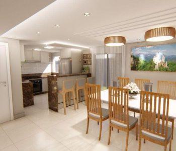 Amanda Leite Escritório de Arquitetura e Interiores - Arquiteto em Curitiba - Sala de jantar com Cozinha Provençal